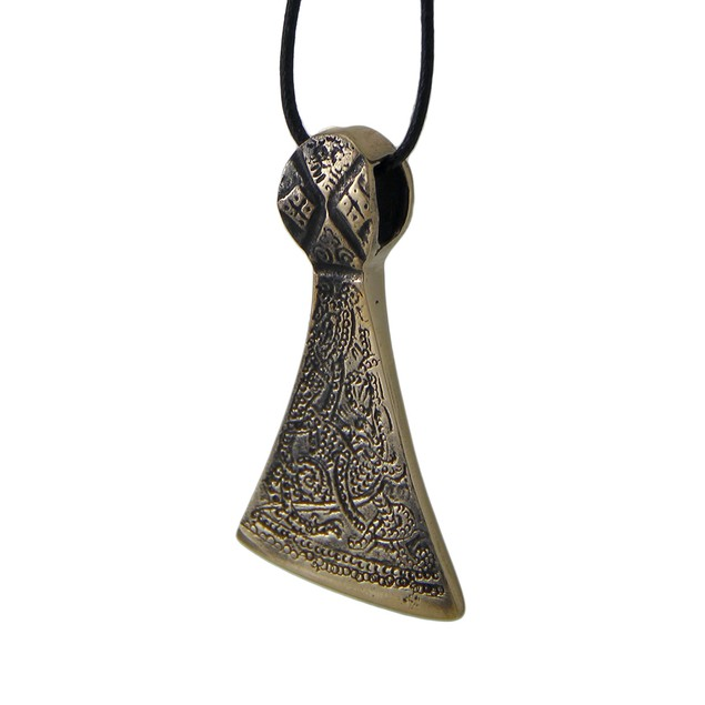 Bronze Finished Celtic Axe Head Pendant On Black Mens Pendant Necklaces