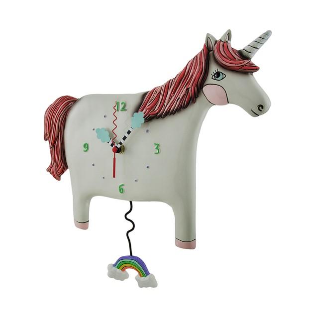 Buttercup Pink / White Unicorn Pendulum Wall Clock Wall Clocks
