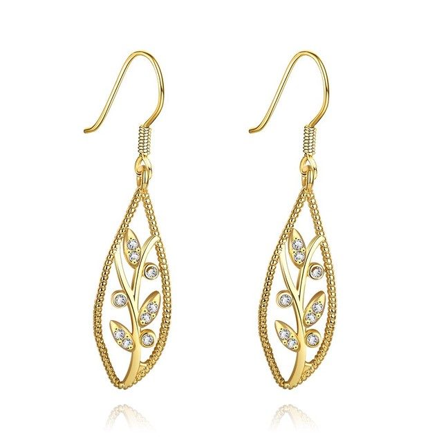 Gold Plated Olive Branch Drop Down Earrings