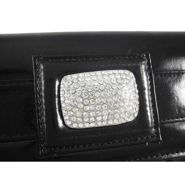 Pleated Black Clutch Purse W/ Rhinestone Accents Womens Clutch Handbags