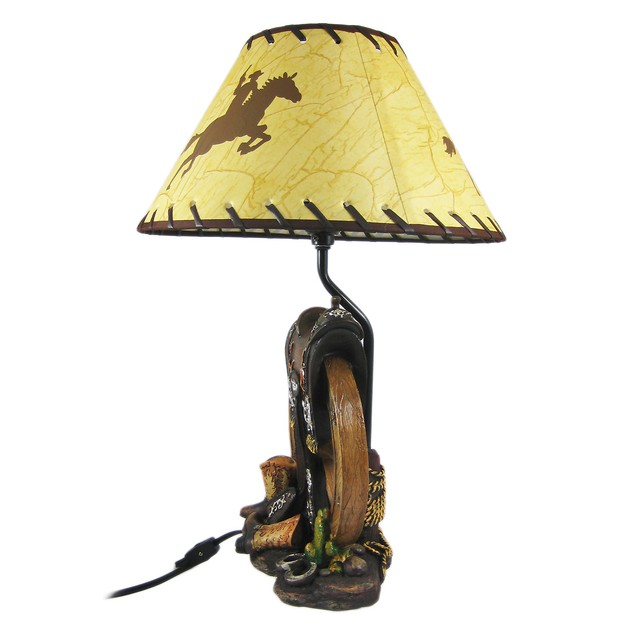 Western Saddle Table Lamp W/ Cowboy Print Shade Table Lamps