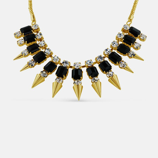 Black Beads and Crystal Spiked Bib Necklace