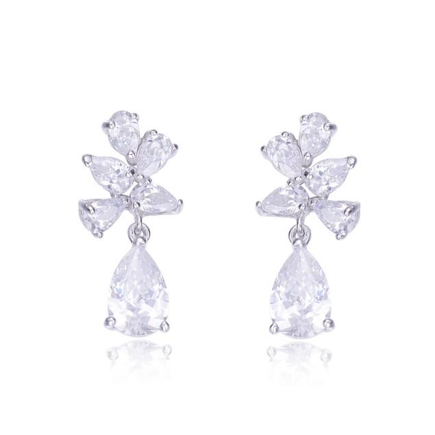C.Z. Sterling Silver Rhodium Plated Pear Shape Drop Earrings