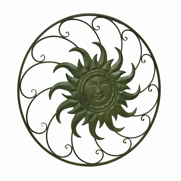 Celestial Sun Swirling Distressed Finish Oversize Outdoor Plaques