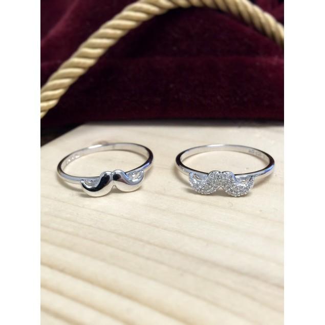 Sterling Silver Mustache Rings - 2 Styles