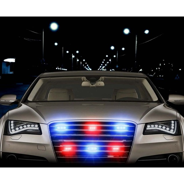 Zone Tech 36 LED Emergency Warning Strobe Lights Blue/Red Windshield Grille