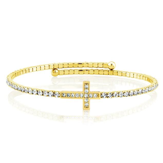 18-Karat Gold Crystal Expandable Fashion Bangle