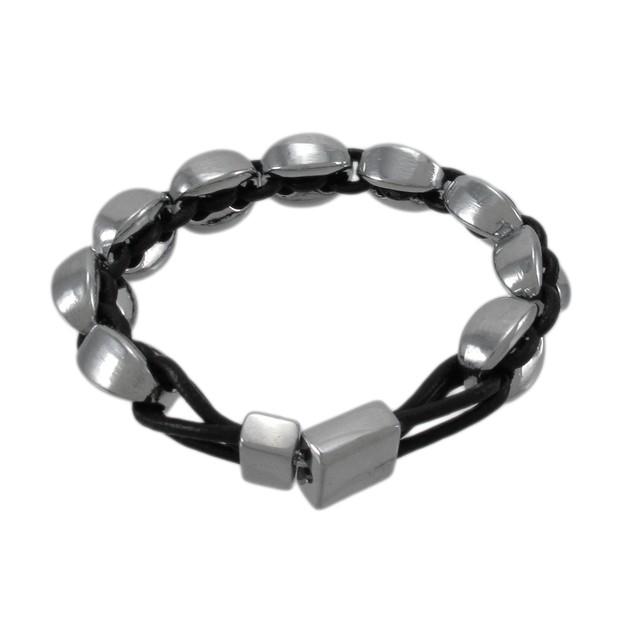 Black Leather And Chrome Marine Link Bracelet 7 Womens Leather Bracelets