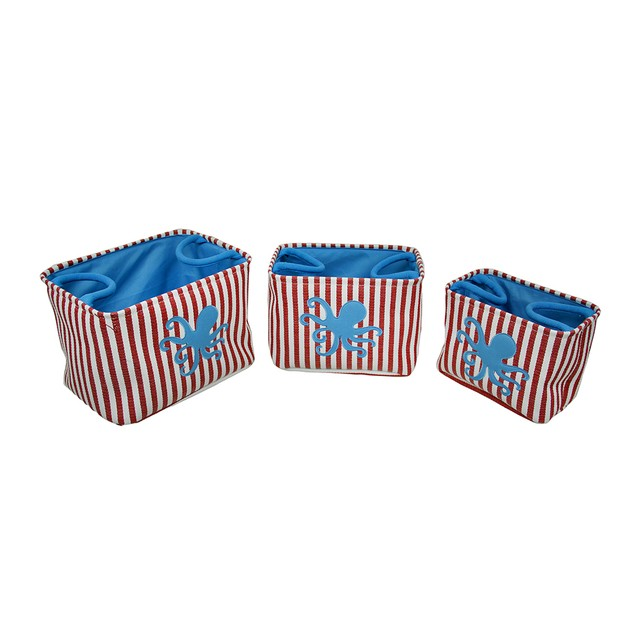 Set Of 3 Red / White Striped Blue Octopus Canvas Decorative Boxes