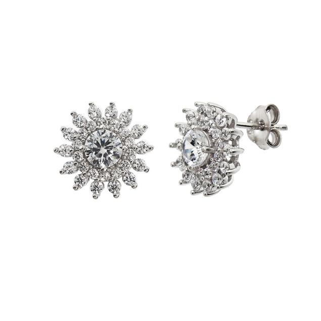 Sterling Silver Pave Starburst Stud Earrings