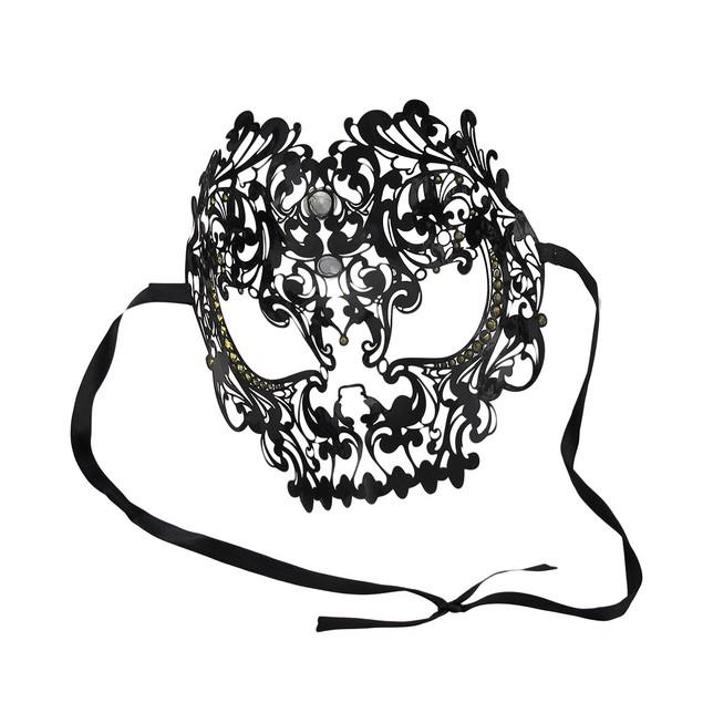 Lacy Black Jeweled Wearable Fantasy Masquerade Mens Costume Masks