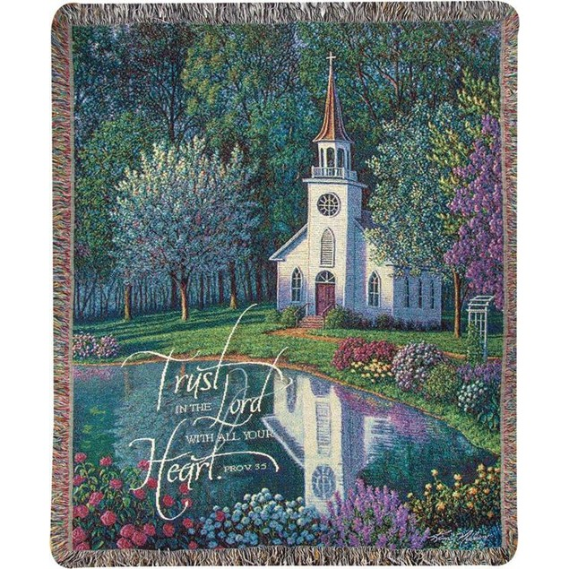 Sanctuary Country Church Inspirational Tapestry Throw Blankets