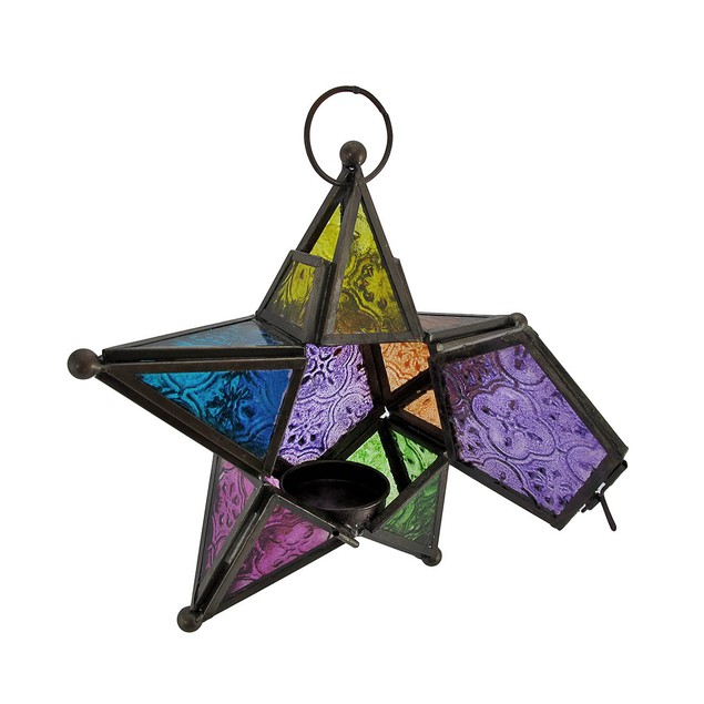 Stained Glass 3D Star Hanging Tea Light Lantern 7 Tea Light Holders