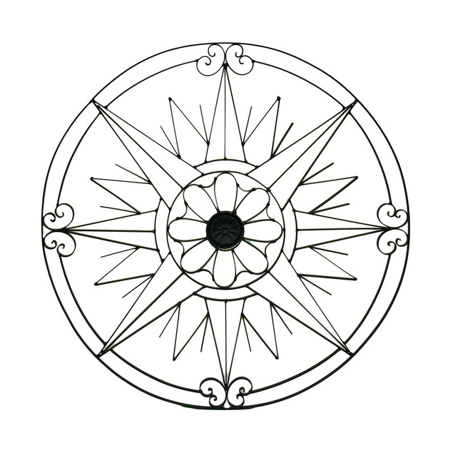Compass Rose Points Floral Center Metal Wall Wall Sculptures
