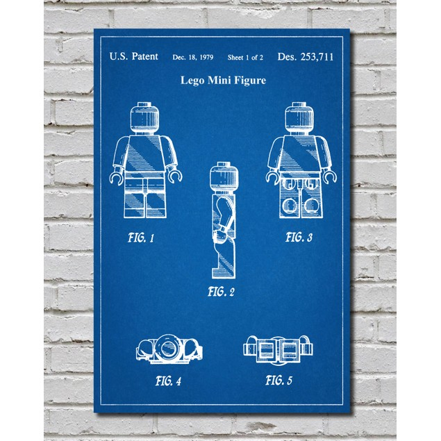 LEGO Minifigure Man Patent Print - 3 Colors