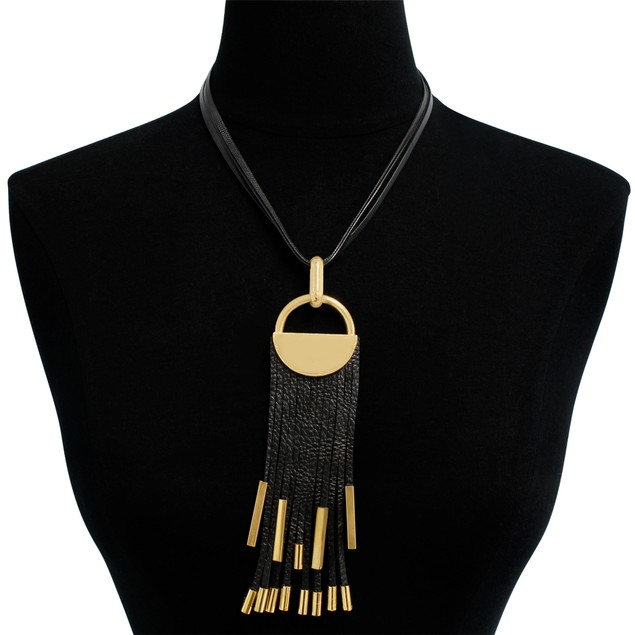 Black Vegan Leather Gold Plated Statement Necklace