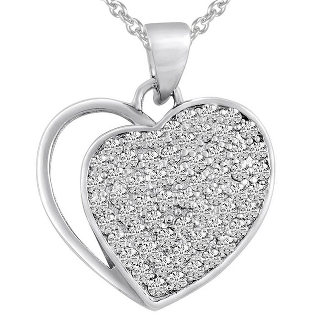 Sterling Silver Simulated Diamond Embedded Heart Pendant