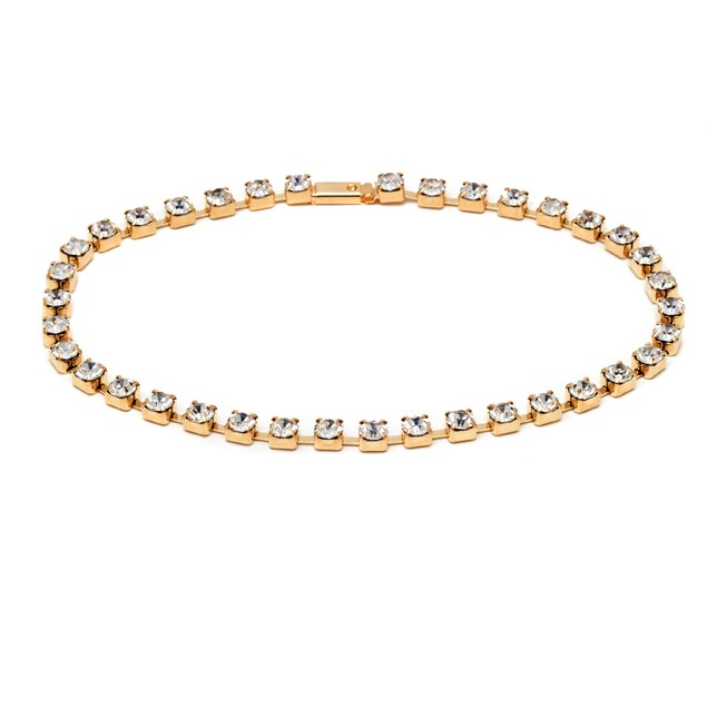 18K Gold Crystal Snap-on Anklet