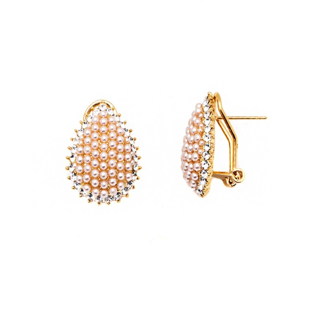 Imitation Pearl and Crystal Teardrop Earrings