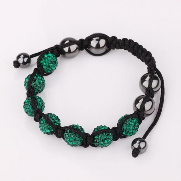 80's Glam Six Beads Austrian Crystal Bracelet - Dark Emerald