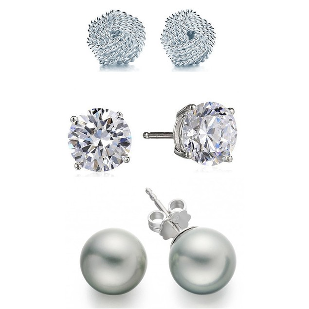 Sterling Silver Knot, Ball & CZ Earrings