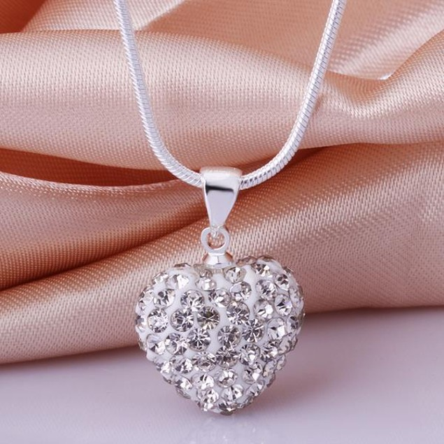 Solid Austrian Stone Crystal Heart Shaped Necklace - Ivory