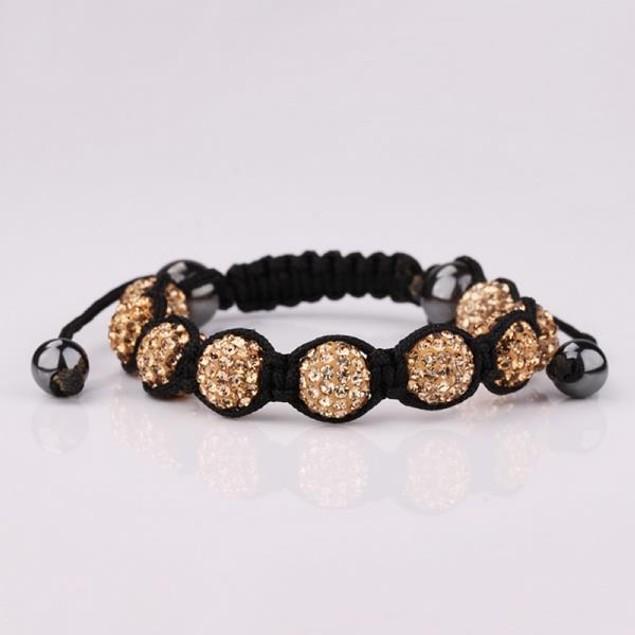 80's Glam Eight Beads Austrian Crystal Bracelet - Light Orange Citrine