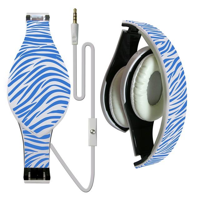 Printed Foldable DJ Style Headset w/ Inline Mic