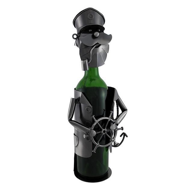 Sailing Captain At The Helm Metal Art Wine Bottle Wine Racks