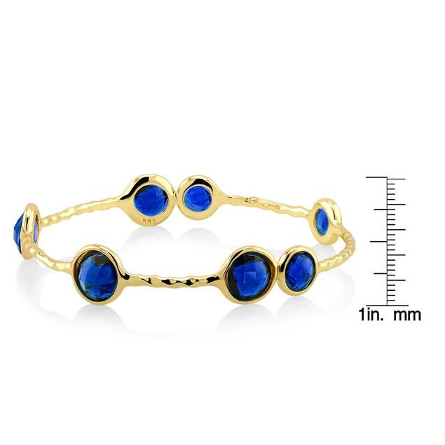 Designer Inspired Hammered Synthetic Sapphire Bangle Bracelet