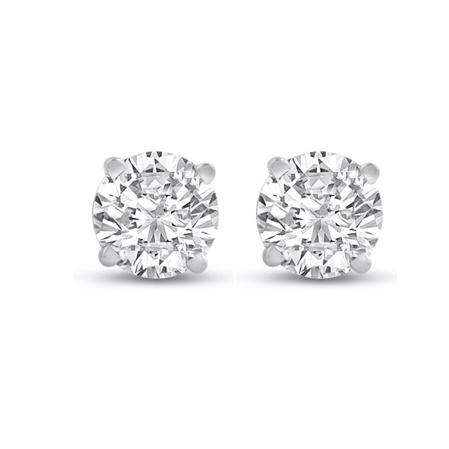 14k White Gold 1/2 Carat Genuine Diamond Stud Earrings