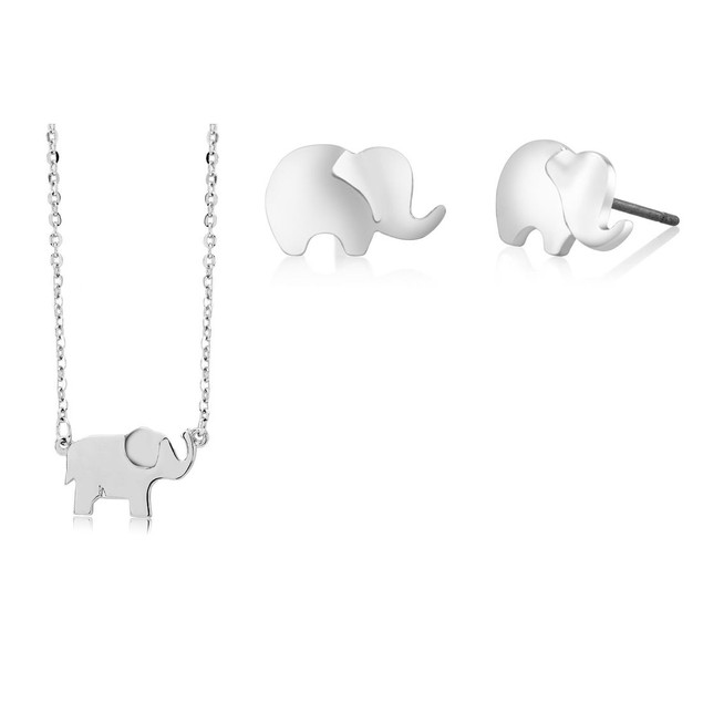 Elephant Stud Earrings & Necklace Set - 3 Colors