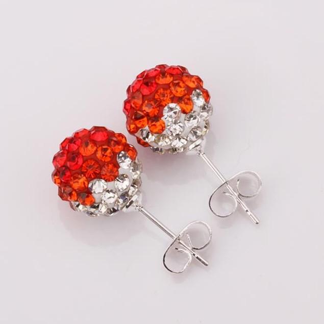 Two Toned Austrian Stone Stud Earrings - Dark Red