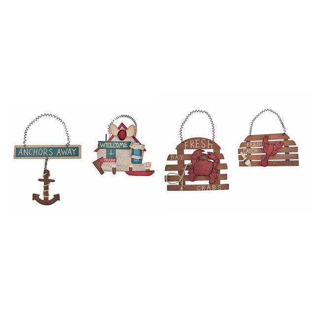 Set Of 4 Small Nautical Theme Wooden Signs Kitchen Decorative Plaques