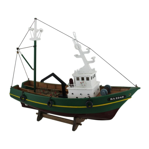 Nautical Green And Yellow Crab Boat Model On Stand Statues