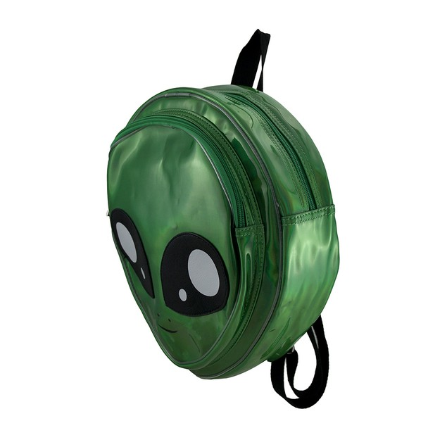 Sleepyville Critters Glossy Green Alien Head Basic Multipurpose Backpacks