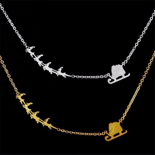 Santa Chariot & Reindeer Necklace