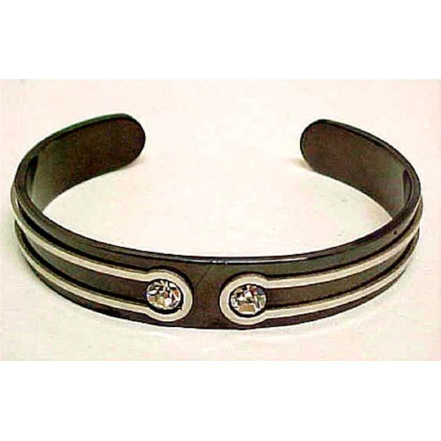 Black Steel Cubic Zirconia Cuff Bracelet Cz Womens Cuff Bracelets