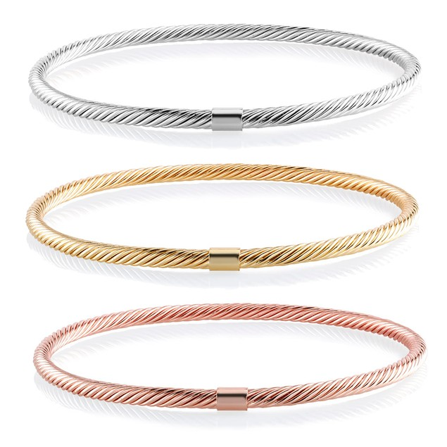 Set of 3 Tri Color Twisted Bangle Bracelets