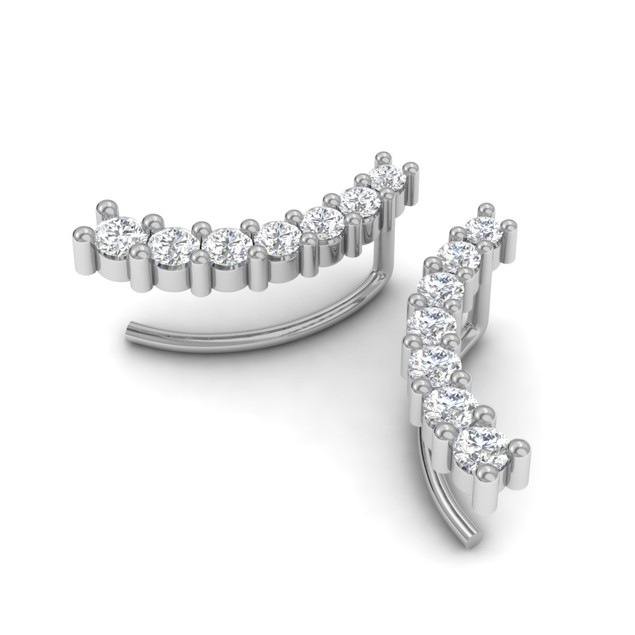 14k White Gold 1/2ct Diamond Ear Climbers