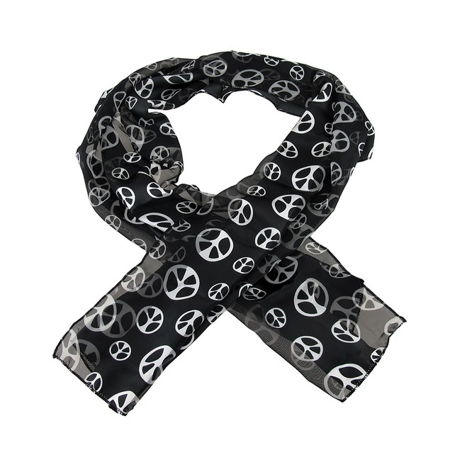 Lightweight Black & White Peace Sign Neck Scarf Womens Fashion Scarves