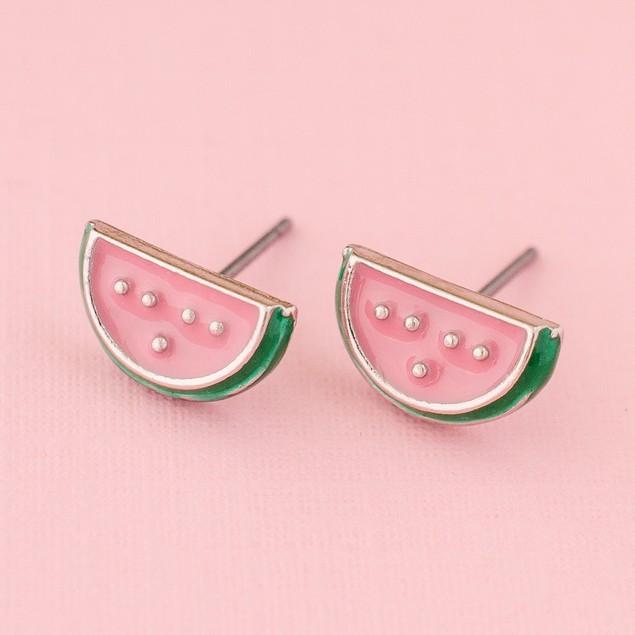 Enamel Watermelon Stud Earrings