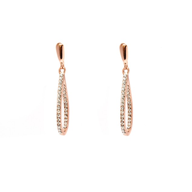 Rose Gold and Sparkle Teardrop Earrings
