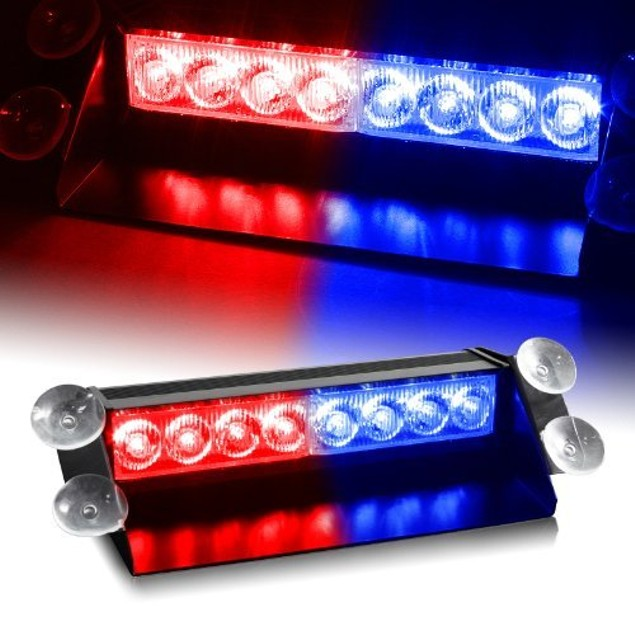 Zone Tech 8 LED Visor Dashboard Emergency Strobe Lights Red/Blue