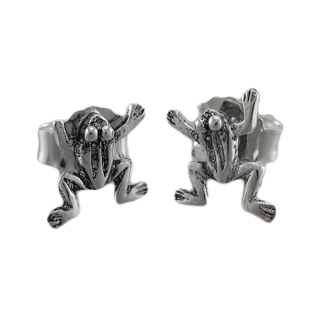 Tiny Sterling Silver Climbing Frog Stud Earrings Womens Stud Earrings