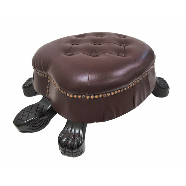 Elegant Walnut Finish Turtle Ottoman Foot Stool Ottomans