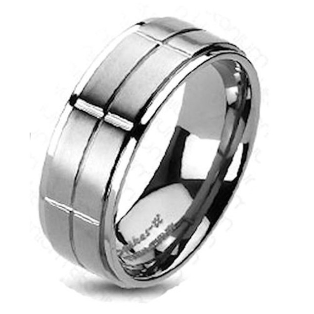 His Hers Stainless Steel & Titanium Wedding Ring Set