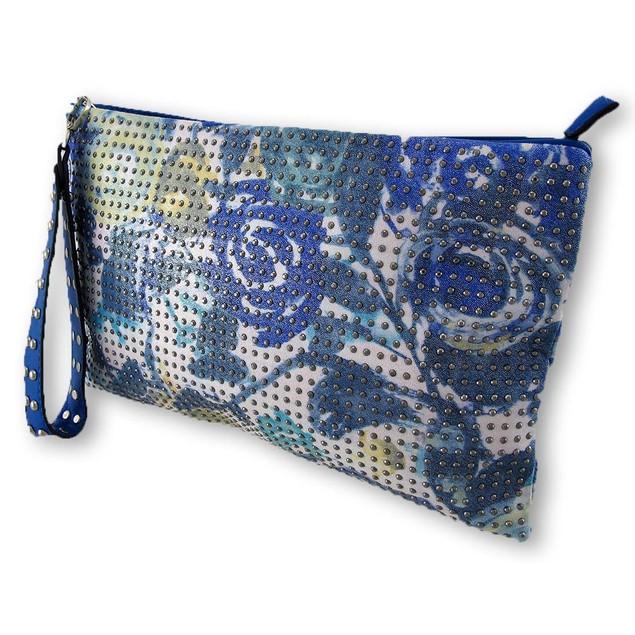 Blue Floral Iridescent Studded Wristlet Clutch Womens Clutch Handbags