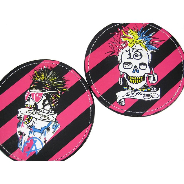 2 Sets Of 4 Ed Hardy Punked Skull Leather Coasters Coasters