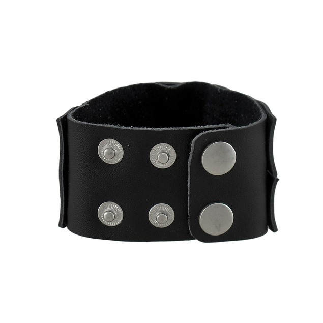 Black Leather Double Row Braided Wristband Mens Leather Bracelets